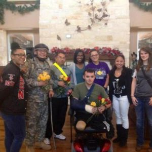 Soldiers from Brook Army Medical Center with their Valentine's Day roses from Freedom Alliance