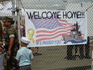 Sailors are welcomed home to San Diego by friends, family, and loved ones as they return to port in San Diego, California. Freedom Alliance sponsored this event through our Rehab and Recovery Fund.