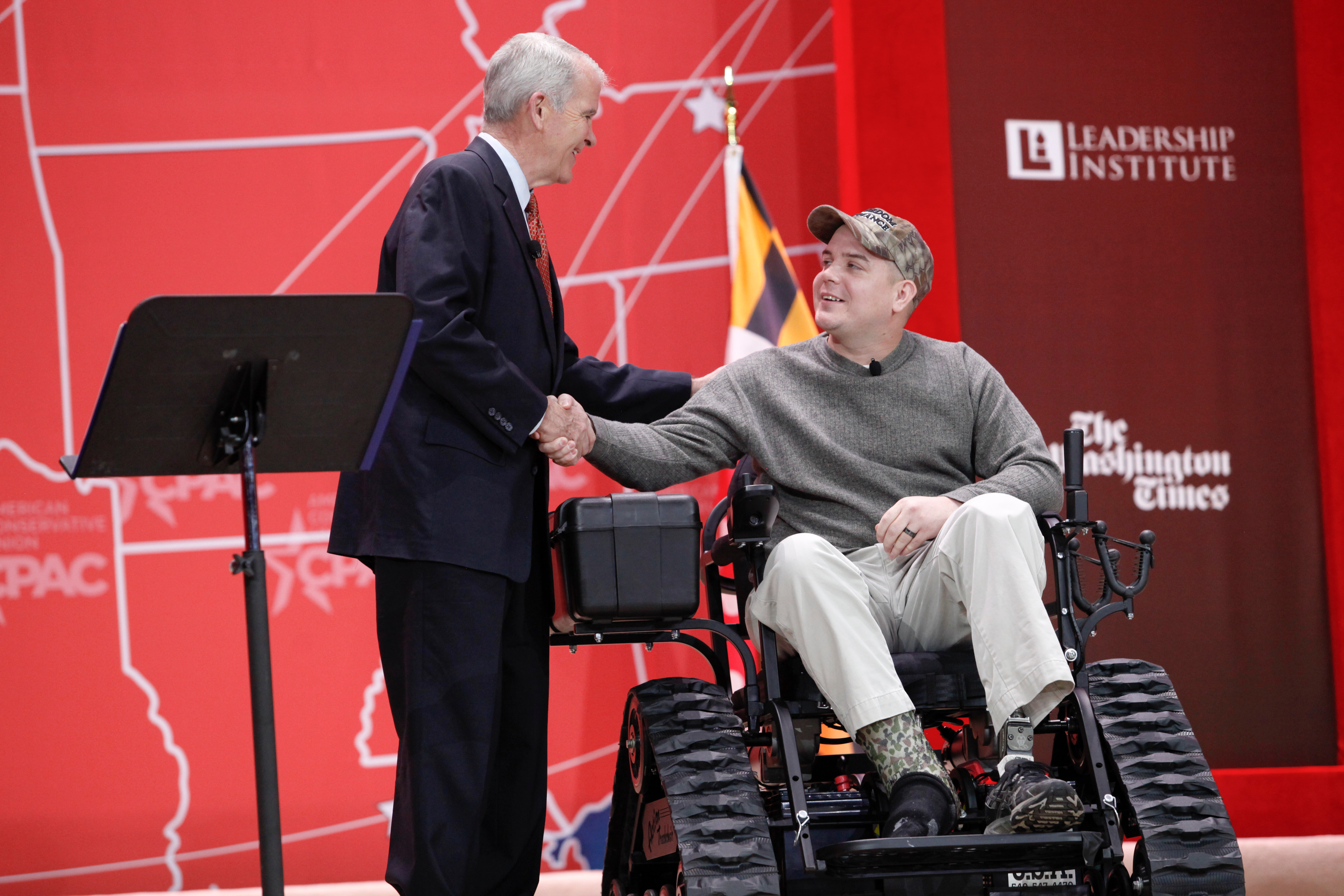 John Moore receives a trackchair from Freedom Alliance.