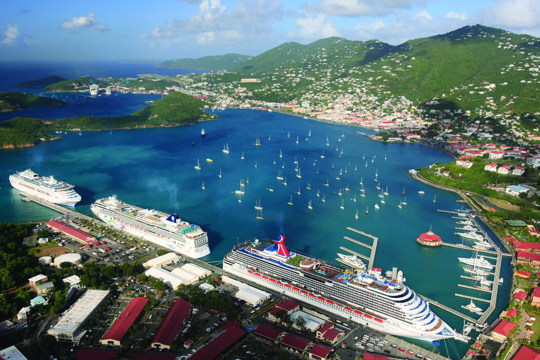 A view of the cruise port and Bay Area of St. Thomas