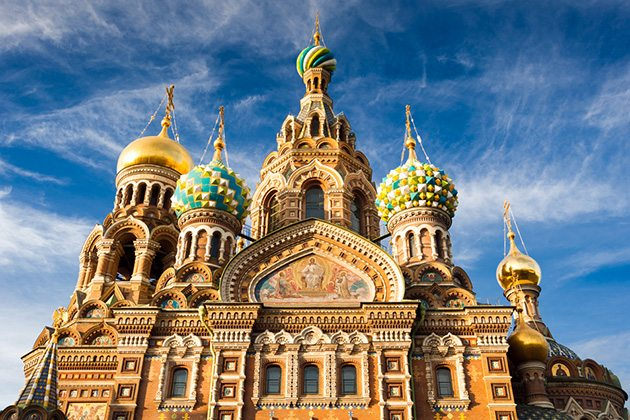 The Church of the Savior on Blood in St. Petersburg, Russia.