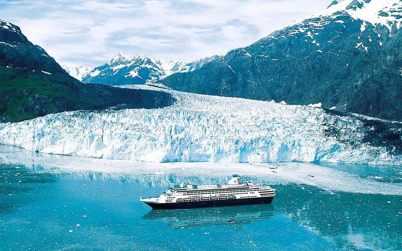 A Holland America ship sails Glacier Bay.